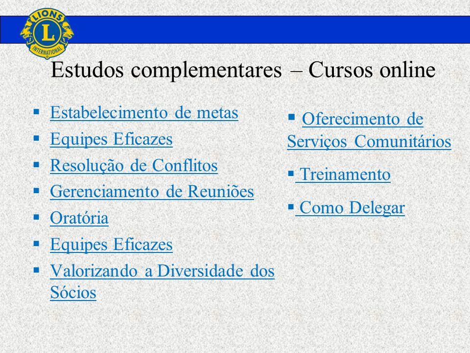 Estudos complementares – Cursos online Estabelecimento de metas Equipes Eficazes Resolução de Conflitos Gerenciamento de Reuniões Oratória Equipes Efi