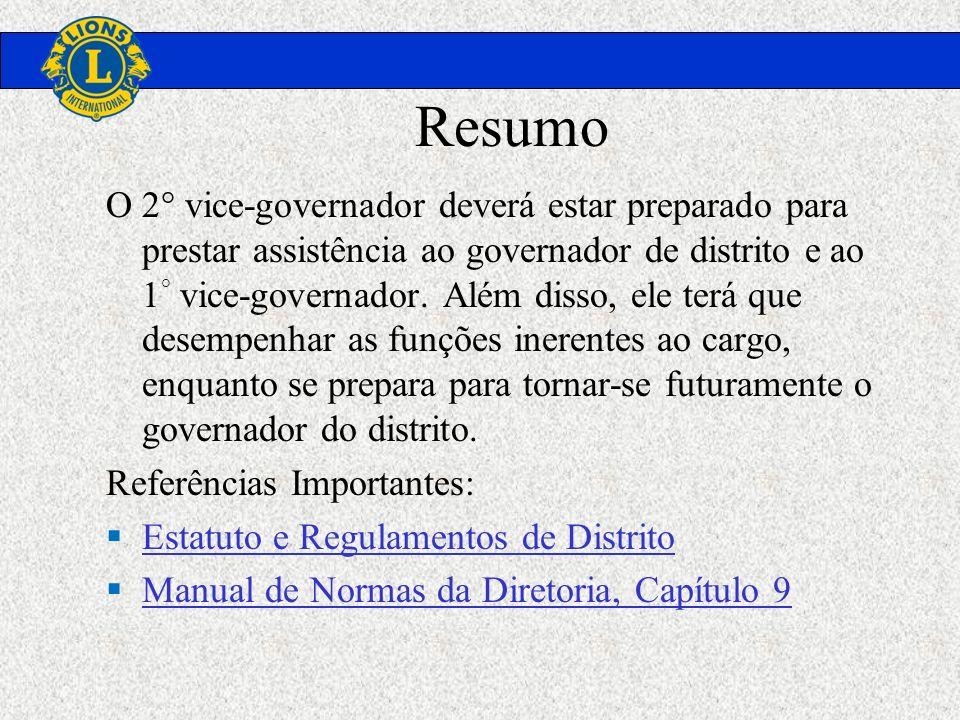 Resumo O 2° vice-governador deverá estar preparado para prestar assistência ao governador de distrito e ao 1 ° vice-governador. Além disso, ele terá q