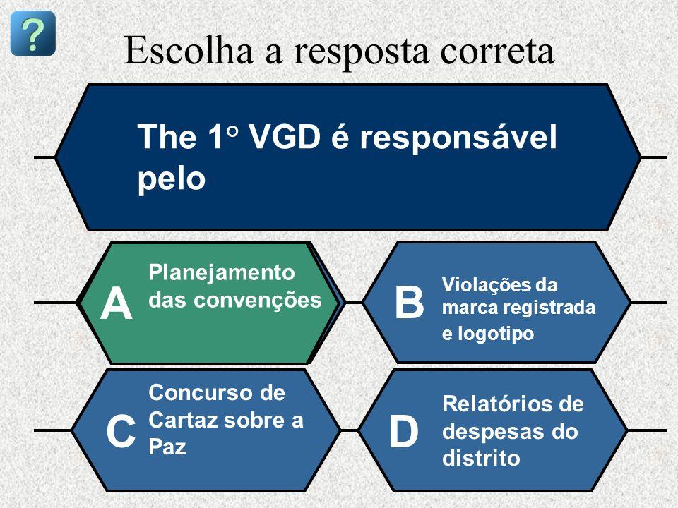 Escolha a resposta correta The 1° VGD é responsável pelo Planejamento das convenções A B Violações da marca registrada e logotipo Concurso de Cartaz s
