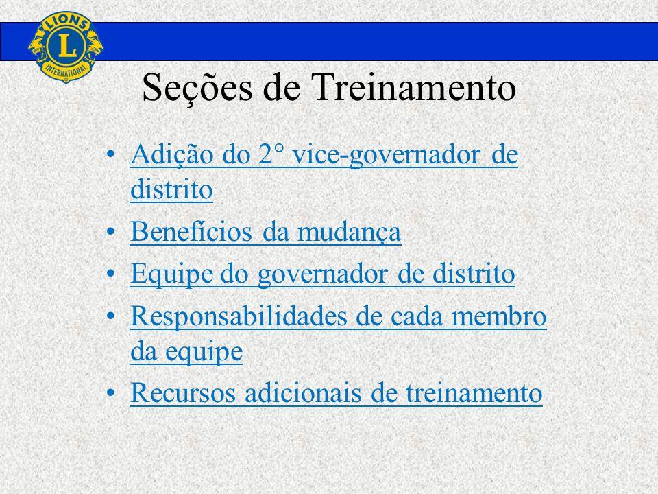 Seções de Treinamento Adição do 2° vice-governador de distrito Benefícios da mudança Equipe do governador de distrito Responsabilidades de cada membro