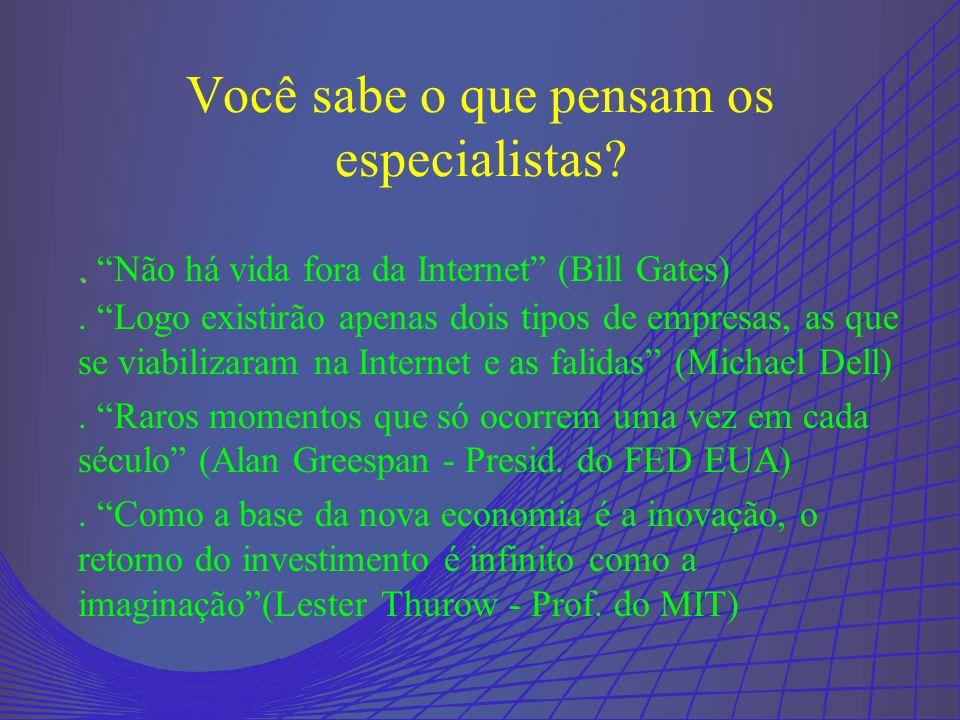 ..Não há vida fora da Internet (Bill Gates) Você sabe o que pensam os especialistas?.