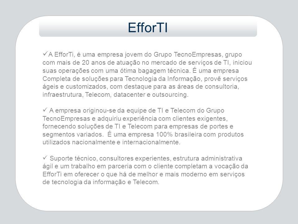 A EfforTi, é uma empresa jovem do Grupo TecnoEmpresas, grupo com mais de 20 anos de atuação no mercado de serviços de TI, iniciou suas operações com u