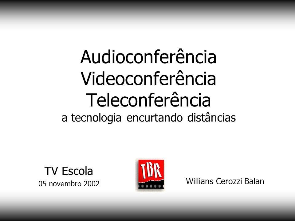 Audioconferência Videoconferência Teleconferência a tecnologia encurtando distâncias Willians Cerozzi Balan Mais informações www.willians.pro.br TV Escola 05 novembro 2002
