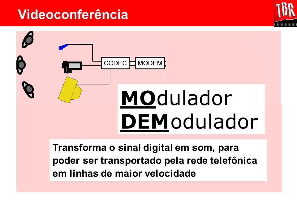 MO DEM dulador odulador Transforma o sinal digital em som, para poder ser transportado pela rede telefônica em linhas de maior velocidade Videoconferê