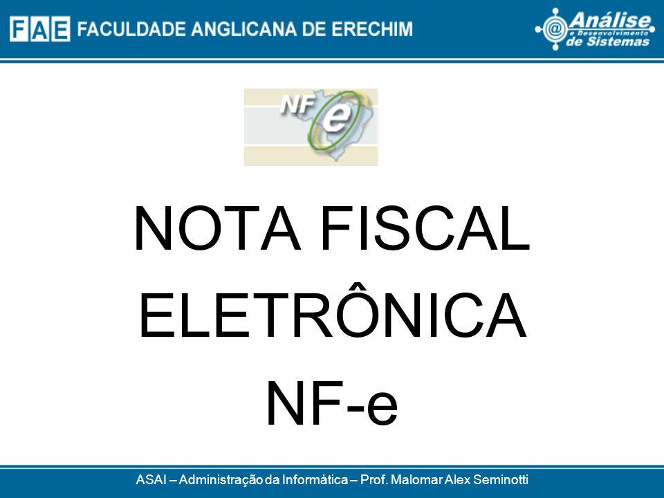 Modelo 55 Existência exclusivamente digital Emitida eletronicamente Documentar circulação mercadorias e prestação de serviços ASAI – Administração da Informática – Prof.