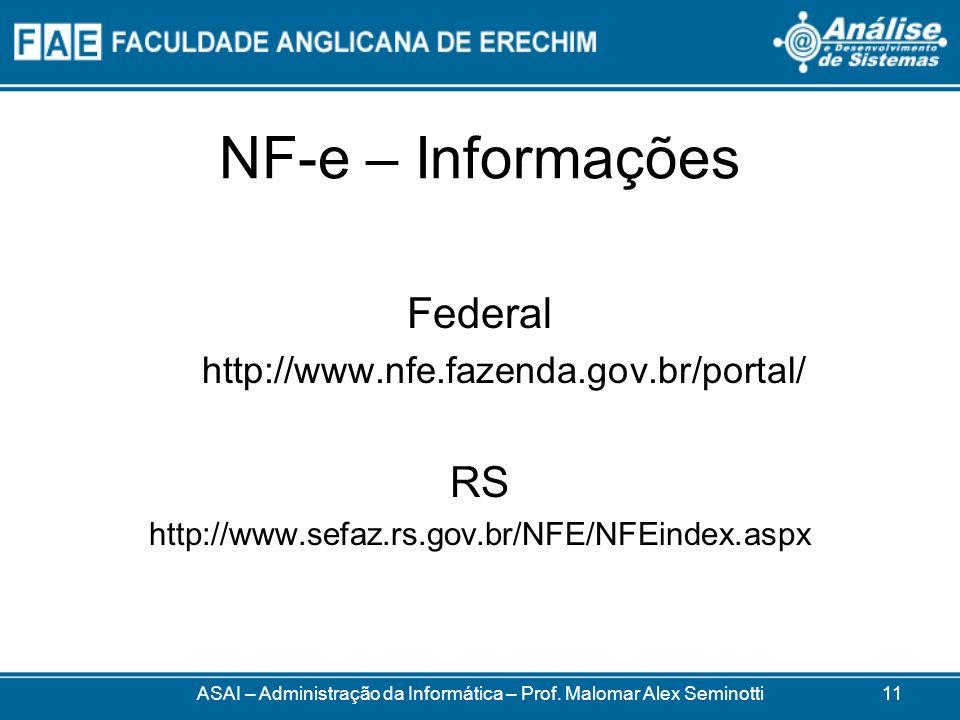 NF-e – Informações Federal http://www.nfe.fazenda.gov.br/portal/ RS http://www.sefaz.rs.gov.br/NFE/NFEindex.aspx ASAI – Administração da Informática – Prof.