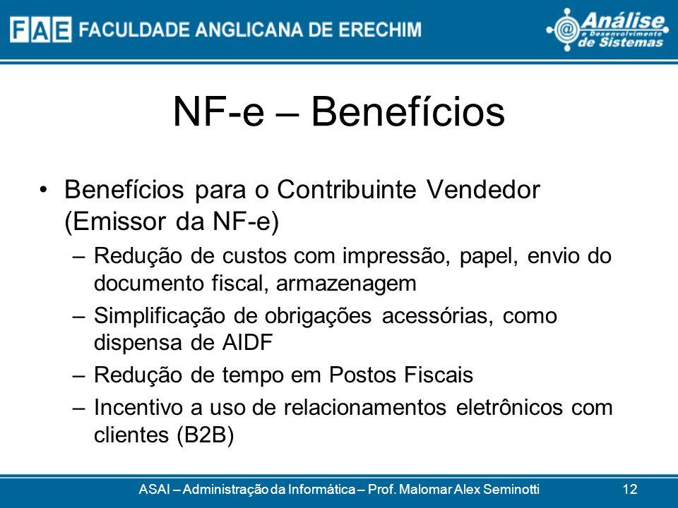 NF-e – Benefícios Benefícios para o Contribuinte Vendedor (Emissor da NF-e) –Redução de custos com impressão, papel, envio do documento fiscal, armazenagem –Simplificação de obrigações acessórias, como dispensa de AIDF –Redução de tempo em Postos Fiscais –Incentivo a uso de relacionamentos eletrônicos com clientes (B2B) ASAI – Administração da Informática – Prof.