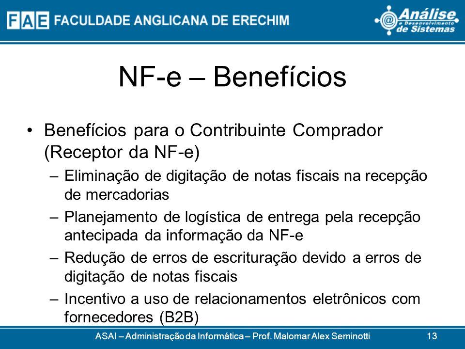 NF-e – Benefícios Benefícios para o Contribuinte Comprador (Receptor da NF-e) –Eliminação de digitação de notas fiscais na recepção de mercadorias –Planejamento de logística de entrega pela recepção antecipada da informação da NF-e –Redução de erros de escrituração devido a erros de digitação de notas fiscais –Incentivo a uso de relacionamentos eletrônicos com fornecedores (B2B) ASAI – Administração da Informática – Prof.