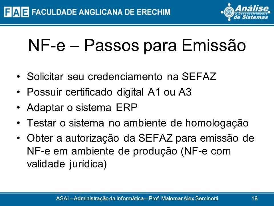 NF-e – Passos para Emissão Solicitar seu credenciamento na SEFAZ Possuir certificado digital A1 ou A3 Adaptar o sistema ERP Testar o sistema no ambiente de homologação Obter a autorização da SEFAZ para emissão de NF-e em ambiente de produção (NF-e com validade jurídica) ASAI – Administração da Informática – Prof.