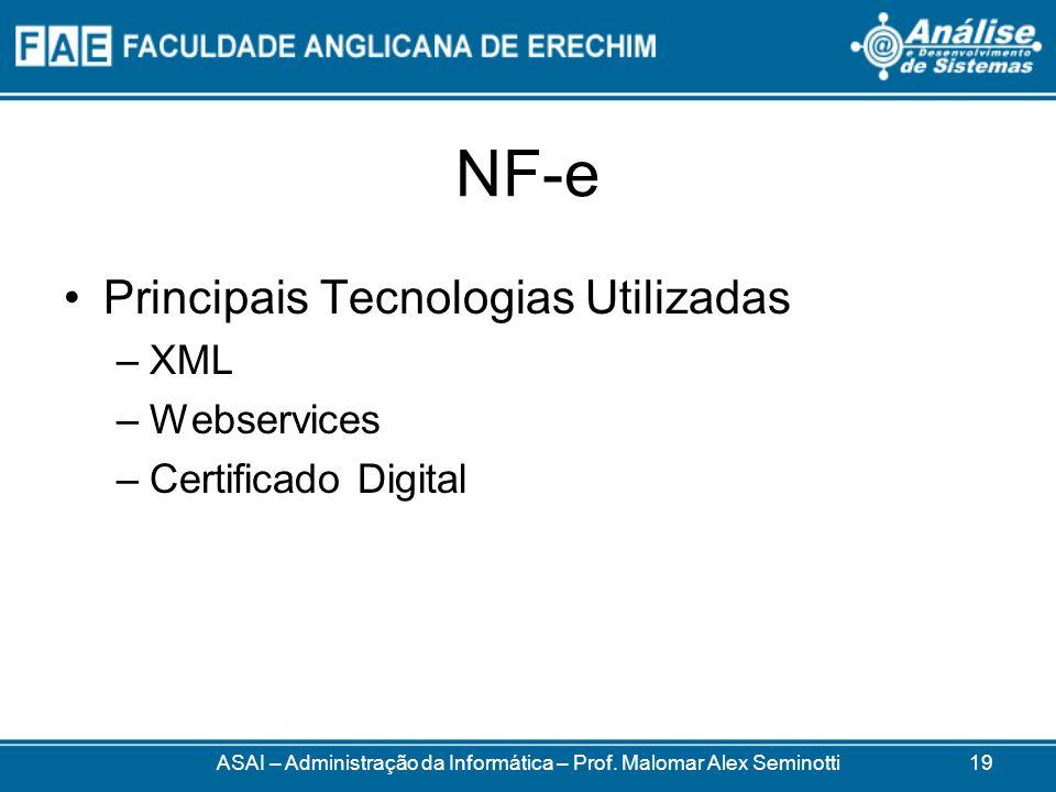NF-e Principais Tecnologias Utilizadas –XML –Webservices –Certificado Digital ASAI – Administração da Informática – Prof.