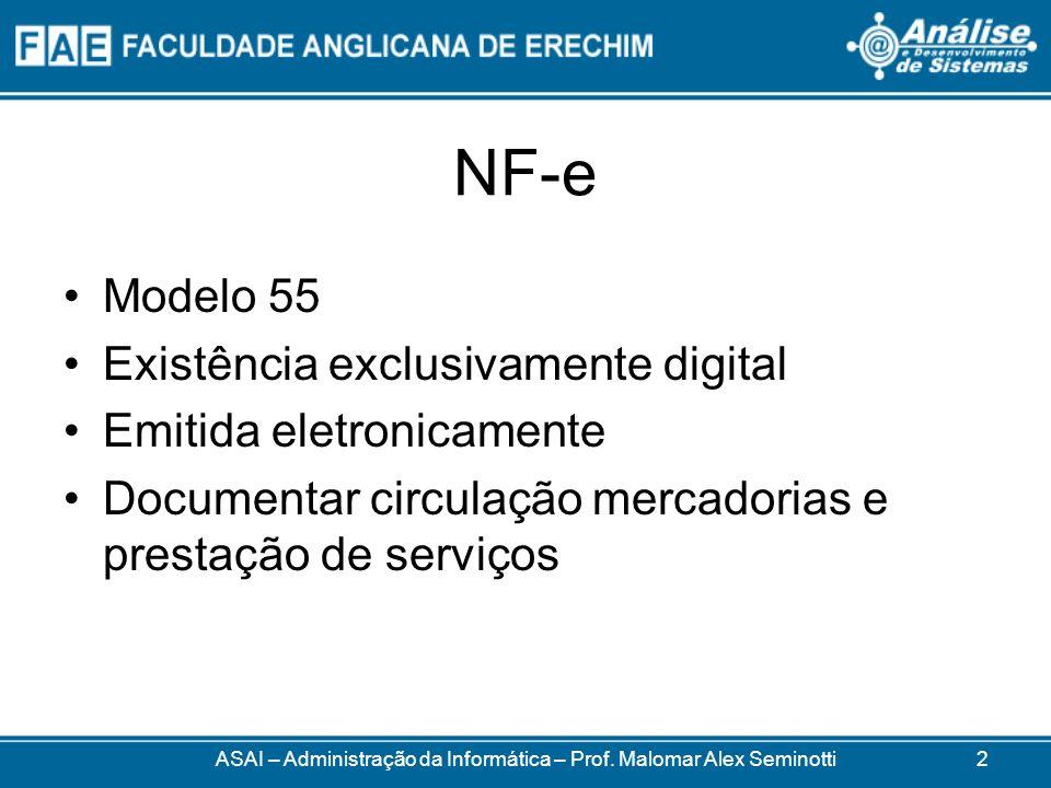 NF-e Criada em 2005 Substituir modelos 1 e 1A Definida pelos documentos (principais) –Ajuste SINIEF 07/2005 –Ato COTEPE 14/2007 –Protocolo ICMS 10/07 ASAI – Administração da Informática – Prof.