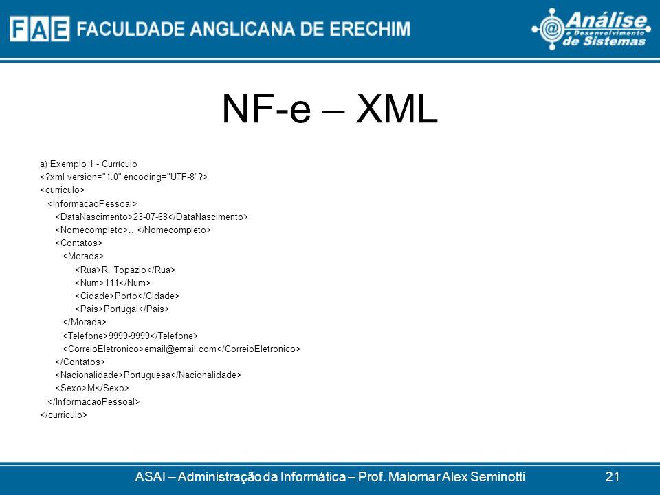 NF-e – XML a) Exemplo 1 - Currículo 23-07-68...R.