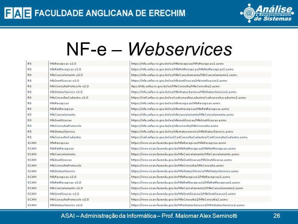 NF-e – Webservices ASAI – Administração da Informática – Prof. Malomar Alex Seminotti26