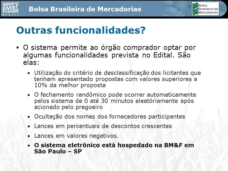 Bolsa Brasileira de Mercadorias Outras funcionalidades.