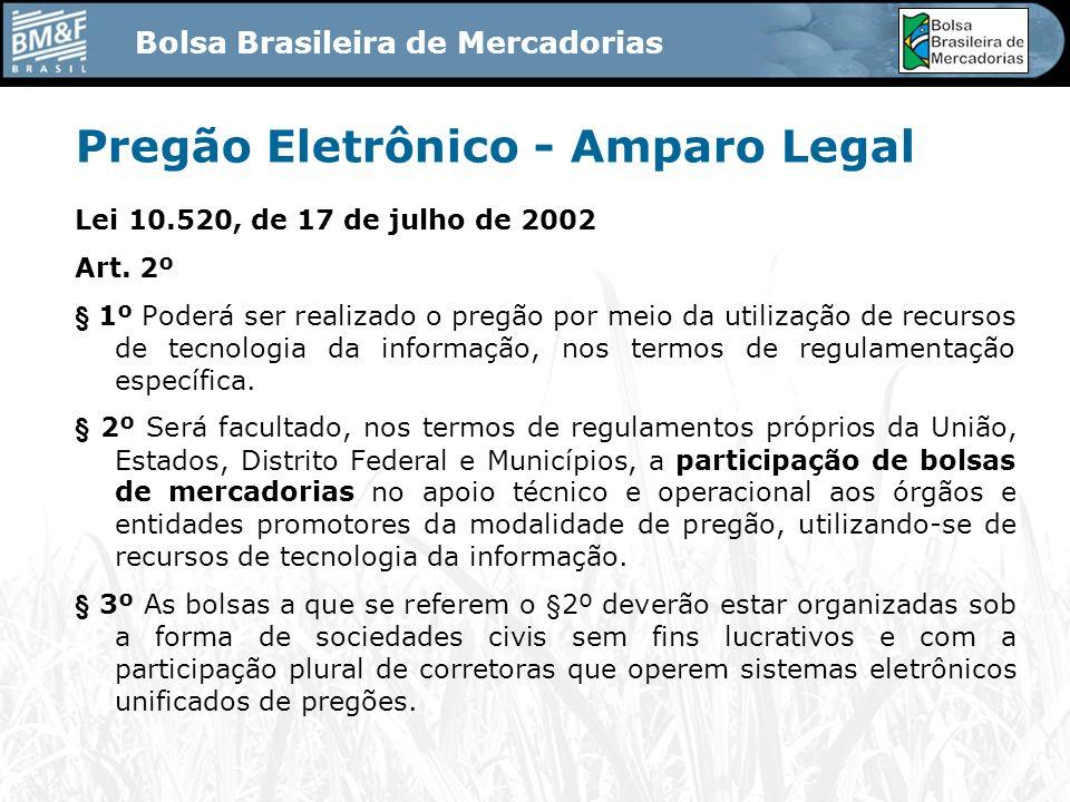 Bolsa Brasileira de Mercadorias Pregão Eletrônico - Amparo Legal Lei 10.520, de 17 de julho de 2002 Art.