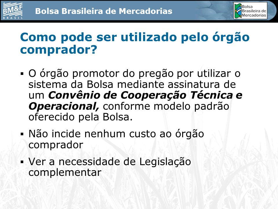 Bolsa Brasileira de Mercadorias Como pode ser utilizado pelo órgão comprador.