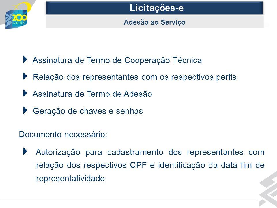 Diretoria de Governo Licitações-e Adesão ao Serviço Assinatura de Termo de Cooperação Técnica Relação dos representantes com os respectivos perfis Ass