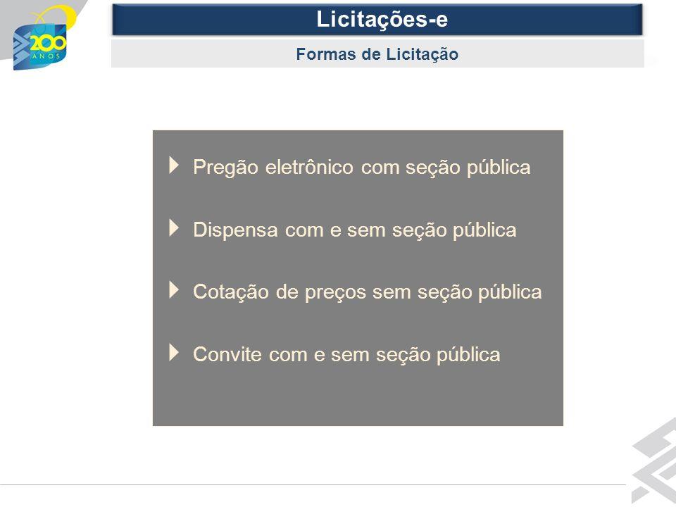 Diretoria de Governo Licitações-e Formas de Licitação Pregão eletrônico com seção pública Dispensa com e sem seção pública Cotação de preços sem seção