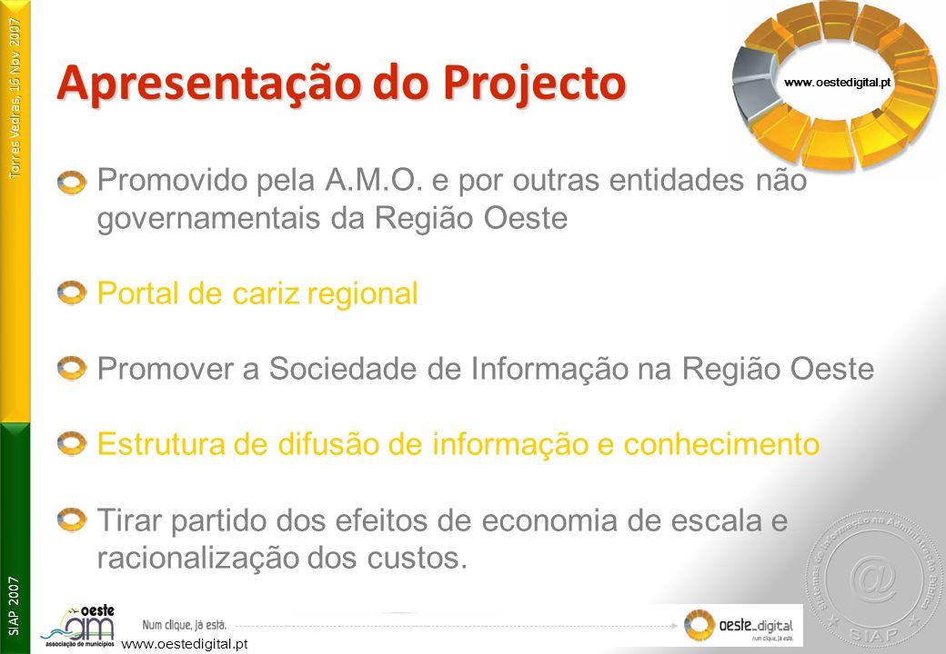 Torres Vedras, 16 Nov 2007 SIAP 2007 Apresentação do Projecto www.oestedigital.pt Promovido pela A.M.O. e por outras entidades não governamentais da R