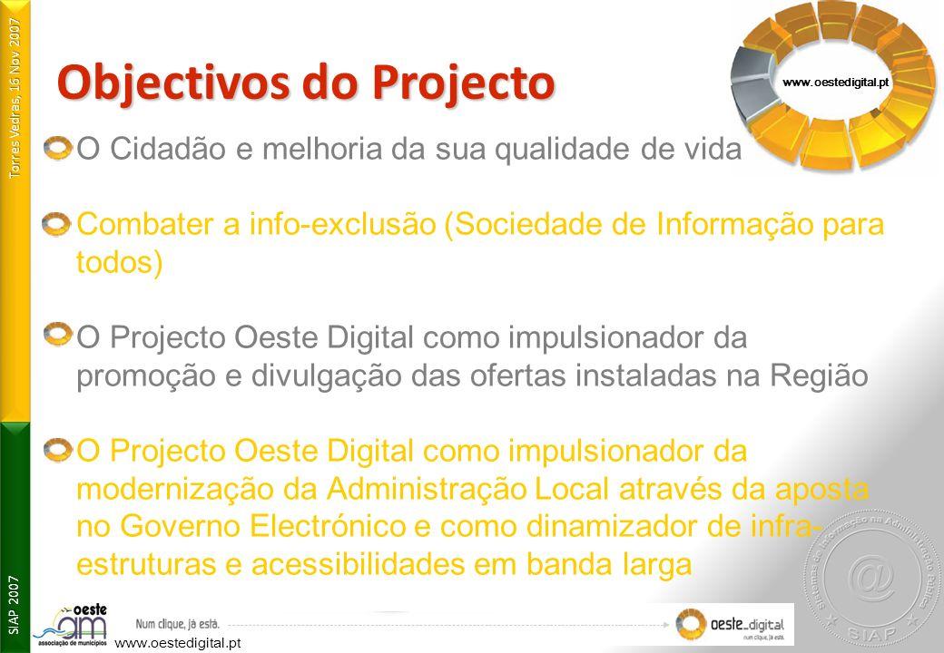 Torres Vedras, 16 Nov 2007 SIAP 2007 www.oestedigital.pt Objectivos do Projecto O Cidadão e melhoria da sua qualidade de vida Combater a info-exclusão