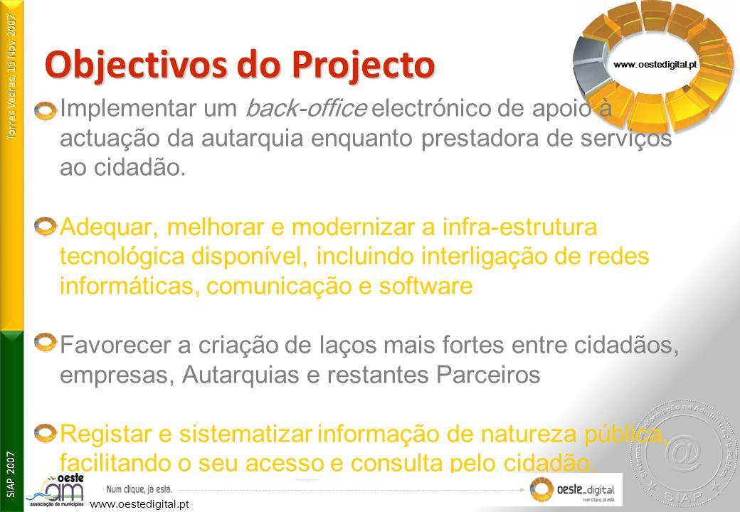 Torres Vedras, 16 Nov 2007 SIAP 2007 www.oestedigital.pt Objectivos do Projecto Implementar um back-office electrónico de apoio à actuação da autarqui