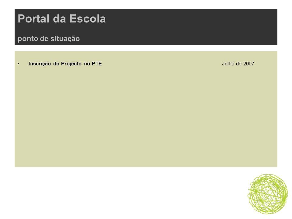 Portal da Escola ponto de situação Inscrição do Projecto no PTE Julho de 2007
