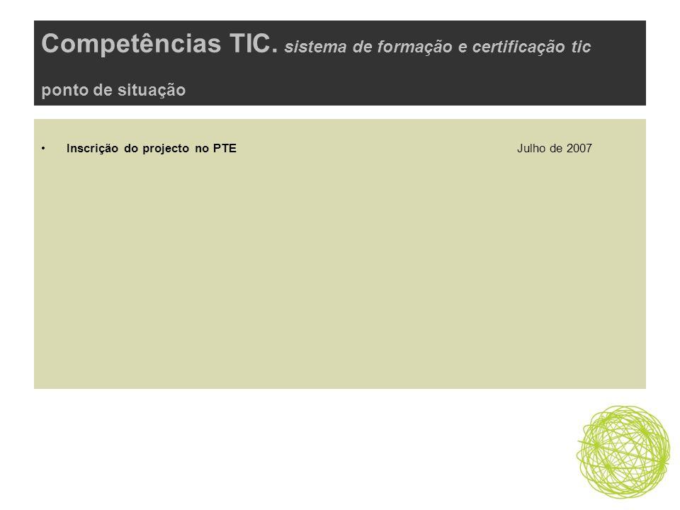 Competências TIC. sistema de formação e certificação tic ponto de situação Inscrição do projecto no PTE Julho de 2007