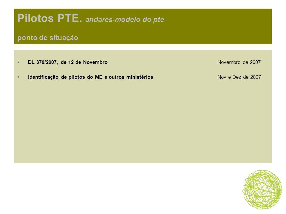 Pilotos PTE. andares-modelo do pte ponto de situação DL 379/2007, de 12 de Novembro Novembro de 2007 Identificação de pilotos do ME e outros ministéri