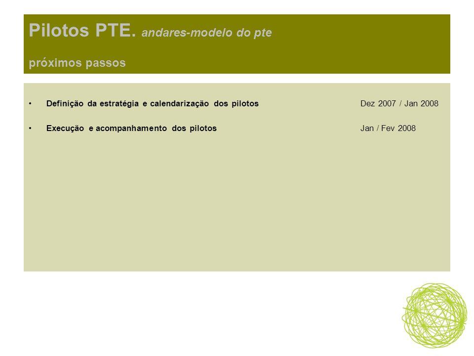 Pilotos PTE. andares-modelo do pte próximos passos Definição da estratégia e calendarização dos pilotosDez 2007 / Jan 2008 Execução e acompanhamento d