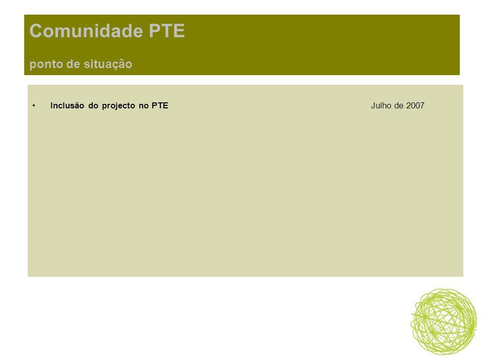 Comunidade PTE ponto de situação Inclusão do projecto no PTEJulho de 2007