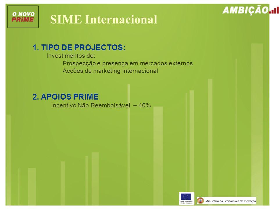 SIME Internacional 1. TIPO DE PROJECTOS: Investimentos de: Prospecção e presença em mercados externos Acções de marketing internacional 2. APOIOS PRIM