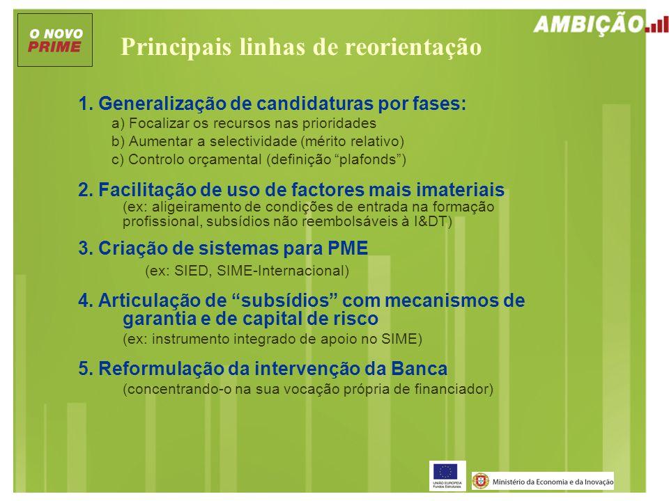 Principais linhas de reorientação 1. Generalização de candidaturas por fases: a) Focalizar os recursos nas prioridades b) Aumentar a selectividade (mé