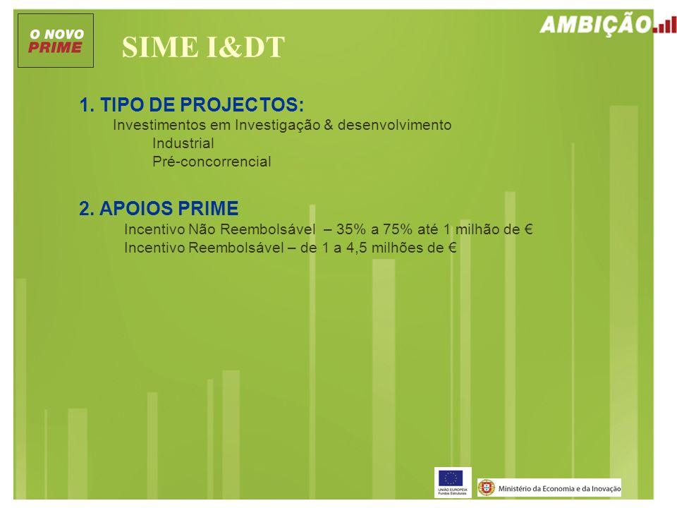 SIME I&DT 1. TIPO DE PROJECTOS: Investimentos em Investigação & desenvolvimento Industrial Pré-concorrencial 2. APOIOS PRIME Incentivo Não Reembolsáve