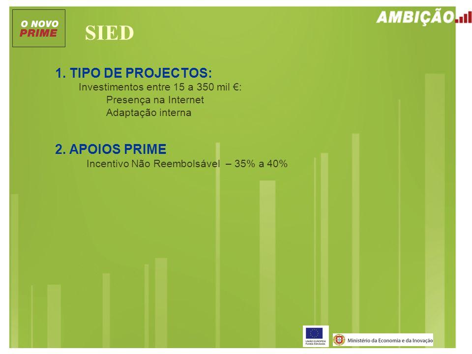 SIED 1. TIPO DE PROJECTOS: Investimentos entre 15 a 350 mil : Presença na Internet Adaptação interna 2. APOIOS PRIME Incentivo Não Reembolsável – 35%
