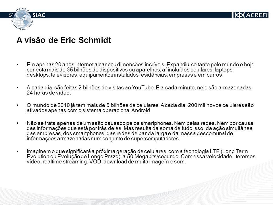 A visão de Eric Schmidt Em apenas 20 anos internet alcançou dimensões incríveis. Expandiu-se tanto pelo mundo e hoje conecta mais de 35 bilhões de dis