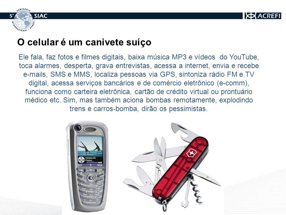 Milhões de celulares em serviço No final de 2010, o Brasil terá mais celulares do que gente.