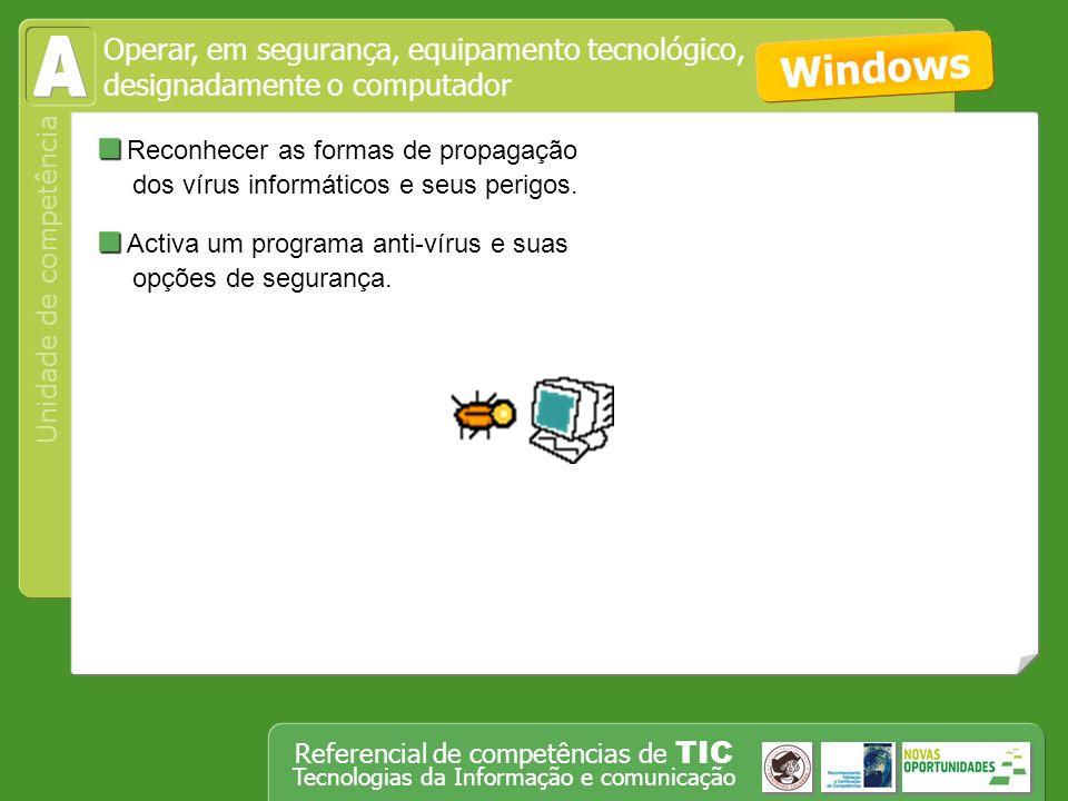 Unidade de competência Referencial de competências de TIC Tecnologias da Informação e comunicação Reconhecer as formas de propagação dos vírus informáticos e seus perigos.