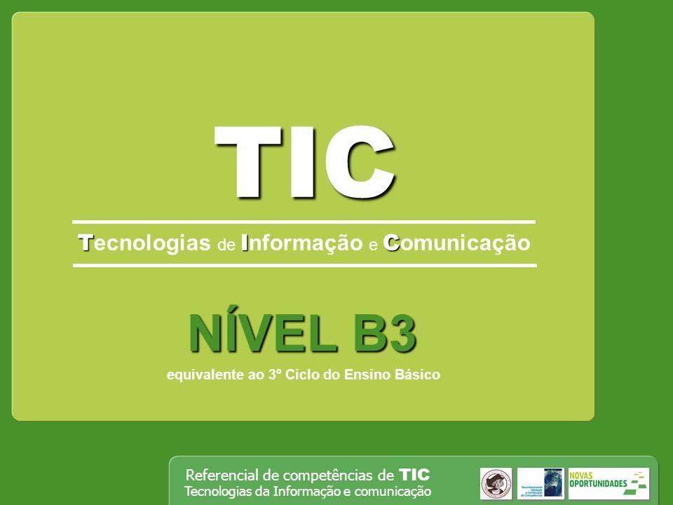 Referencial de competências de TIC Tecnologias da Informação e comunicação TIC TIC T ecnologias de I nformação e C omunicação NÍVEL B3 equivalente ao 3º Ciclo do Ensino Básico