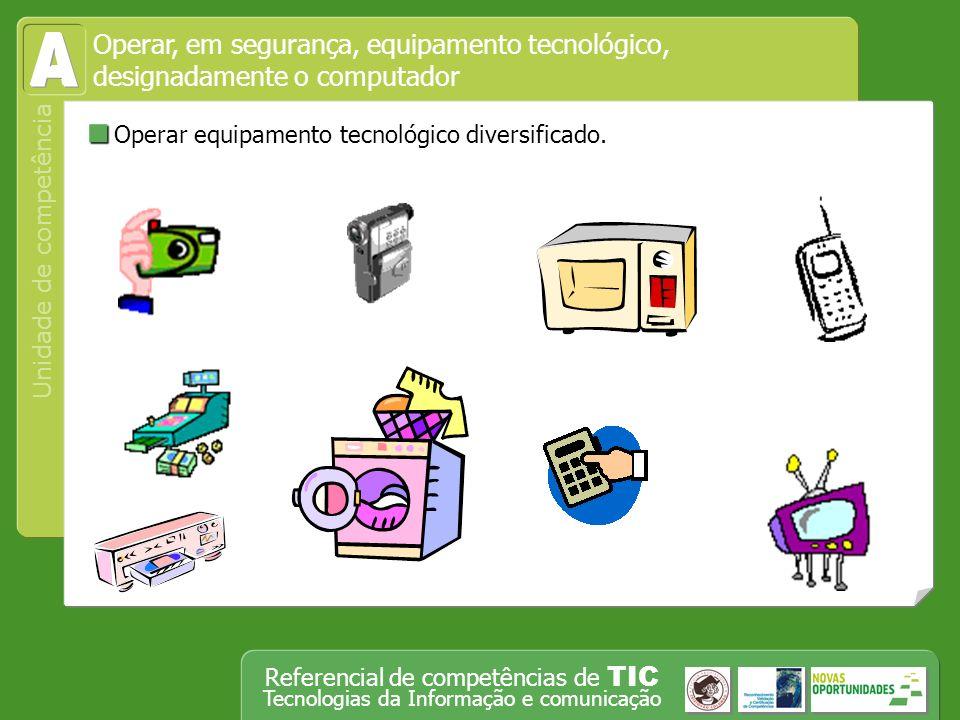 Unidade de competência Referencial de competências de TIC Tecnologias da Informação e comunicação Reconhecer os factores de risco e as precauções a tomar quando se trabalha com determinado tipo de equipamento tecnológico.