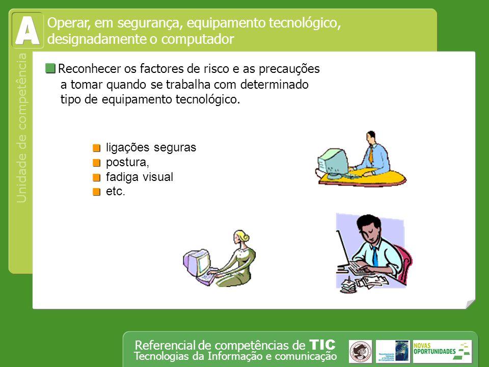 Operar, em segurança, equipamento tecnológico, designadamente o computador Unidade de competência Referencial de competências de TIC Tecnologias da Informação e comunicação Exportar uma folha de cálculo ou gráfico.