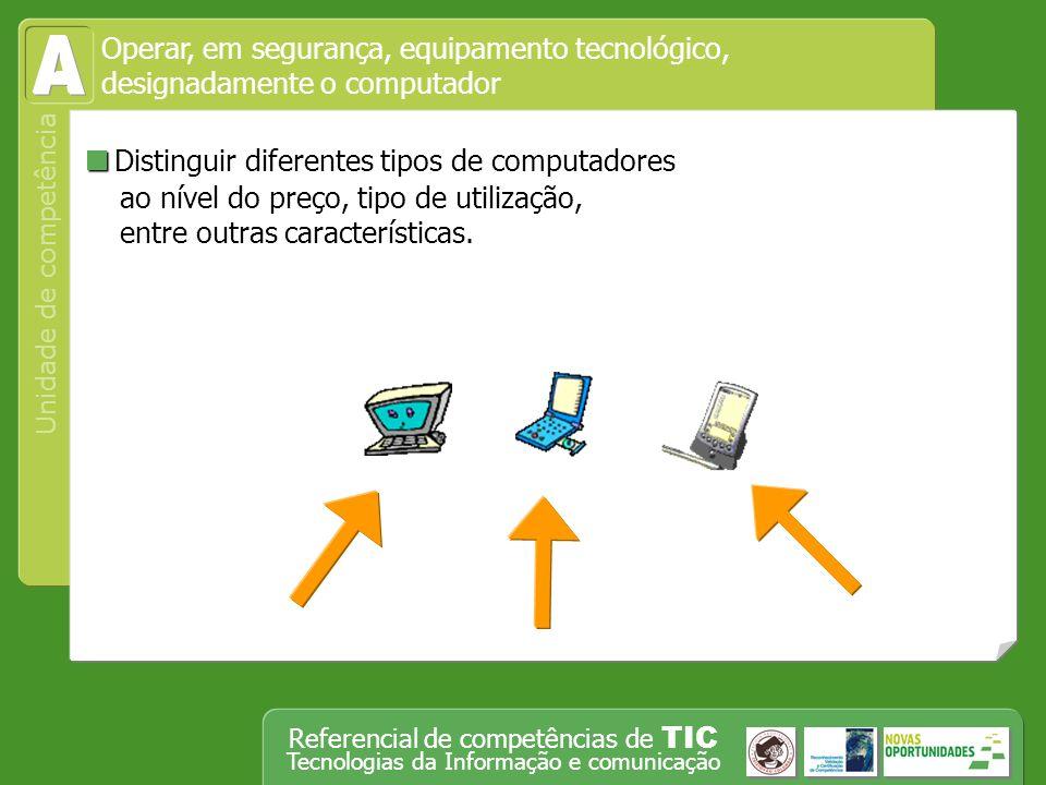 Operar, em segurança, equipamento tecnológico, designadamente o computador Unidade de competência Referencial de competências de TIC Tecnologias da Informação e comunicação Iniciar um programa de navegação (browser) na Web e abre um endereço da Net.