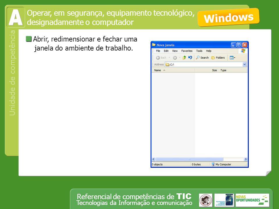 Operar, em segurança, equipamento tecnológico, designadamente o computador Unidade de competência Referencial de competências de TIC Tecnologias da Informação e comunicação Pesquisar em diferentes motores de busca, utilizando ou não palavra-chave.