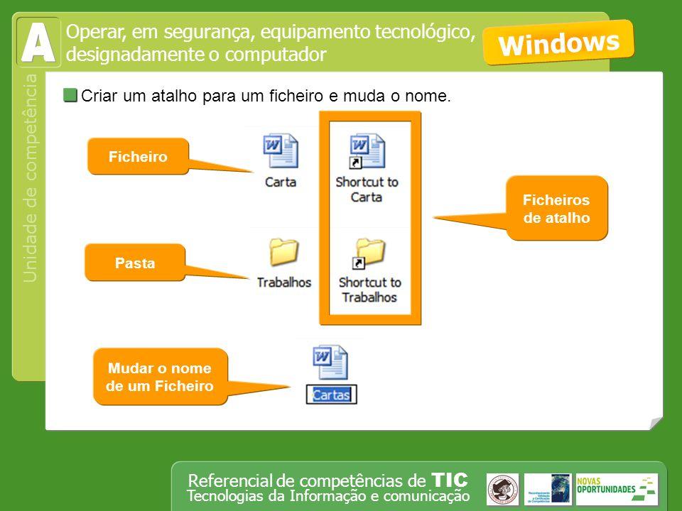 Operar, em segurança, equipamento tecnológico, designadamente o computador Unidade de competência Referencial de competências de TIC Tecnologias da Informação e comunicação Criar um documento, insere texto, imagens e tabelas e formata-os.