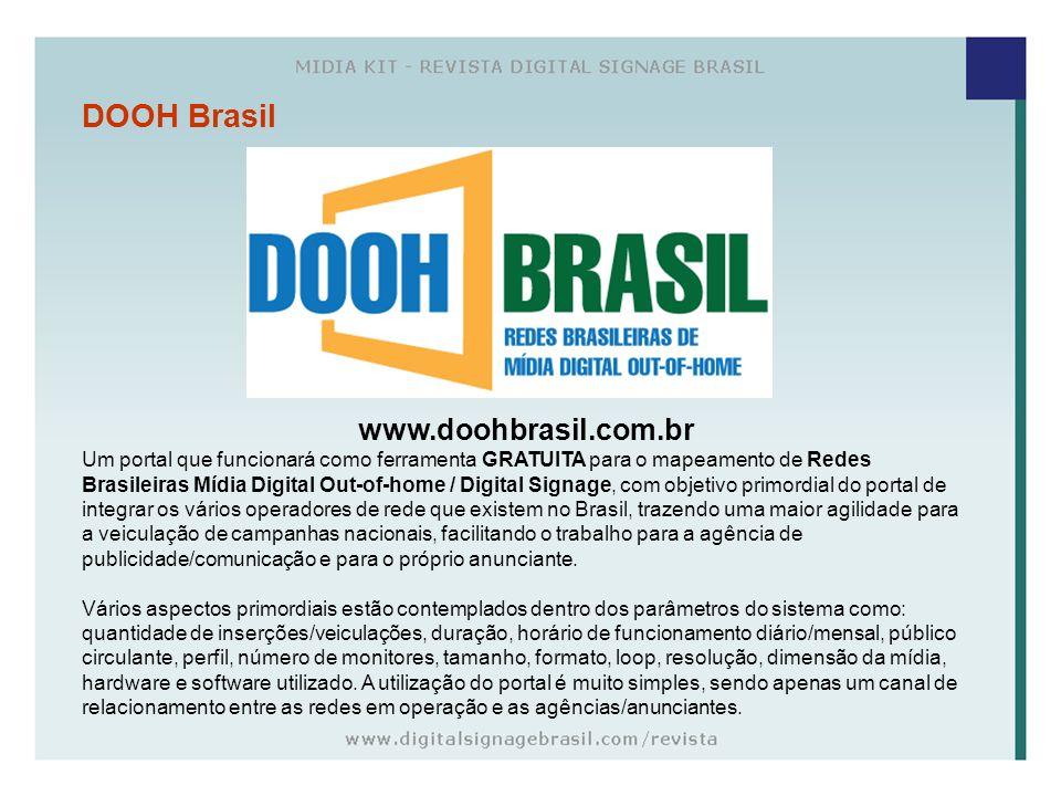 DOOH Brasil www.doohbrasil.com.br Um portal que funcionará como ferramenta GRATUITA para o mapeamento de Redes Brasileiras Mídia Digital Out-of-home /