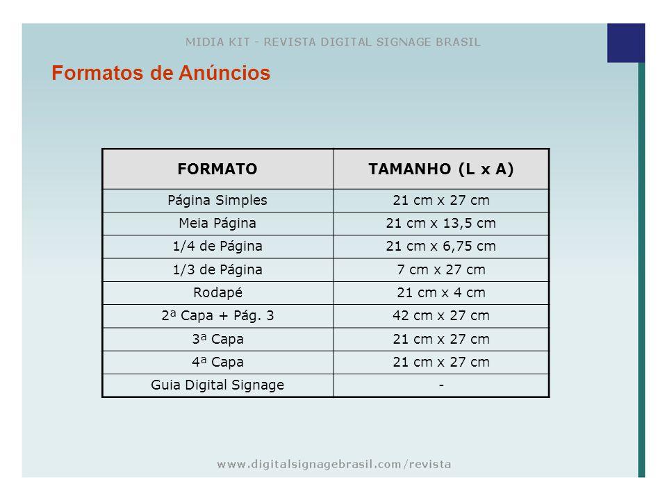 Formatos de Anúncios FORMATOTAMANHO (L x A) Página Simples21 cm x 27 cm Meia Página21 cm x 13,5 cm 1/4 de Página21 cm x 6,75 cm 1/3 de Página7 cm x 27