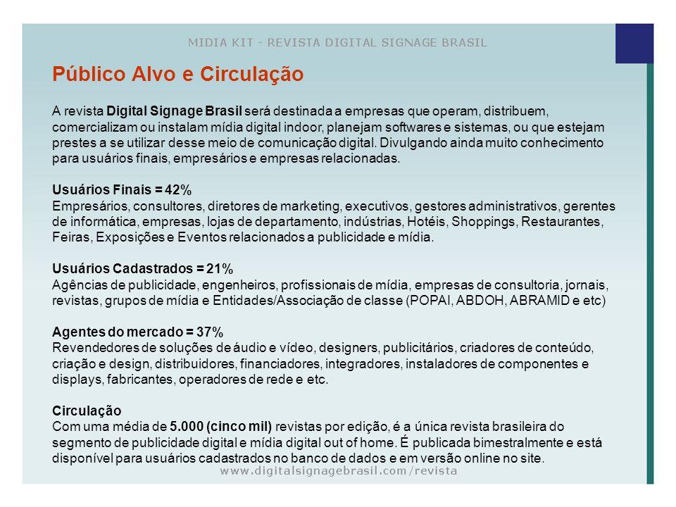 Público Alvo e Circulação A revista Digital Signage Brasil será destinada a empresas que operam, distribuem, comercializam ou instalam mídia digital i