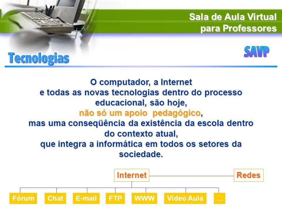 Sala de Aula Virtual para Professores O computador, a Internet e todas as novas tecnologias dentro do processo educacional, são hoje, não só um apoio