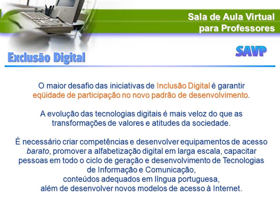 Sala de Aula Virtual para Professores O maior desafio das iniciativas de Inclusão Digital é garantir eqüidade de participação no novo padrão de desenv