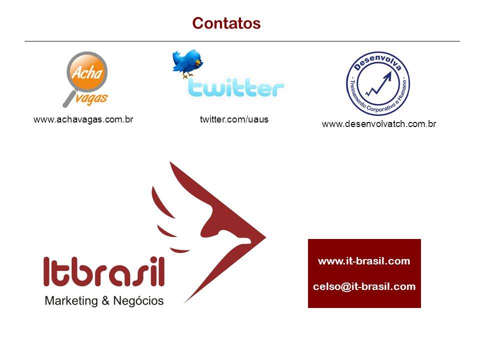 Contatos twitter.com/uauswww.achavagas.com.br www.desenvolvatch.com.br www.it-brasil.com celso@it-brasil.com