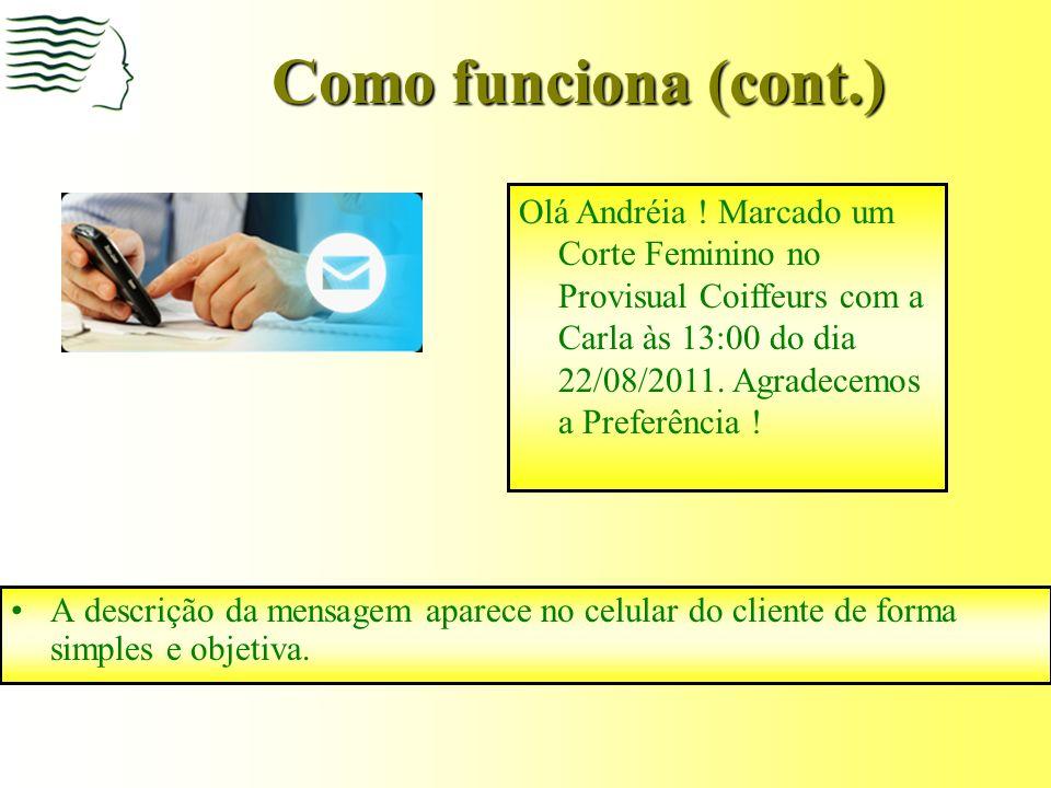 Como funciona (cont.) A recepcionista aciona o envio do SMS e envia a mensagem de confirmação.